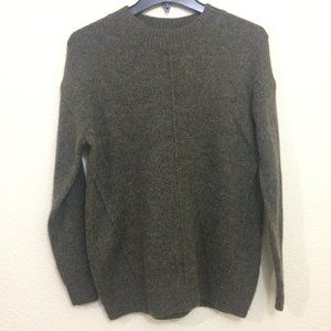 Topshop Knit Sweater Mock Neck Marled Brown Mohair